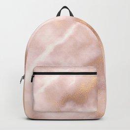 Blush pink faux gold vintage elegant marble Backpack