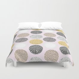Yellow, White, Gray, Pink and Black Circle Print Duvet Cover