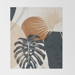 Abstract Art Tropical Leaves 7 Throw Blanket
