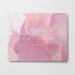 Come To Me | Pink Watercolor Reverse (for Lyndsie Brooker) Metal Print