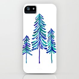 Pine Trees – Navy & Turquoise Palette iPhone Case