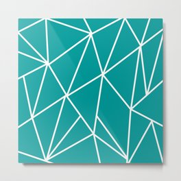 ABSTRACT DESIGN (WHITE-TEAL) Metal Print
