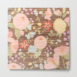 Rustic brown wood pastel pink botanical floral Metal Print