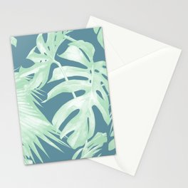 Tropical Leaves Luxe Ocean Teal Blue Pastel Green Stationery Cards