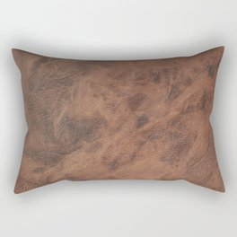 Old Tan Leather Print Texture | Cowhide Rectangular Pillow
