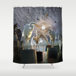 Fantasy Image of Bird Gathering Shower Curtain