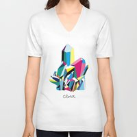 clear V-neck T-shirts featuring crystal clear by SUPSY