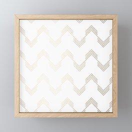 Simply Deconstructed Chevron White Gold Sands on White Framed Mini Art Print