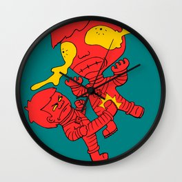 Astronaut getting kicked because the world needs this -- funny cartoon drawing in red and yellow Wall Clock