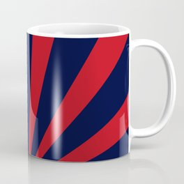 Retro dark blue and red sunburst style abstract background. Coffee Mug