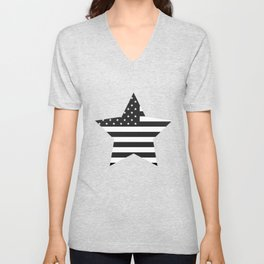 American Flag Stars and Stripes Black White Unisex V-Neck