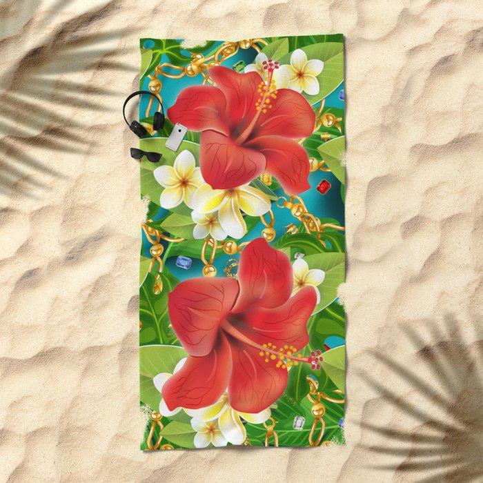 tropical color party  Beach Towel