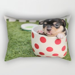 Chihuahua Puppy in a Teacup Rectangular Pillow