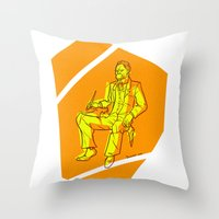 nietzsche Throw Pillows featuring The Dawn of Nietzsche by Duessa