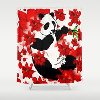 red panda Shower Curtains featuring Panda by Saundra Myles