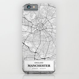 Manchester England City Map with GPS Coordinates iPhone Case