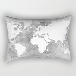 Design 49 Grayscale World Map Rectangular Pillow
