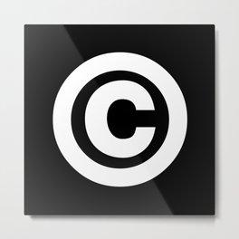 Copyright Sign (White & Black) Metal Print