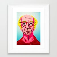 larry david Framed Art Prints featuring Larry David 1 by Alyssa Underwood Contemporary Art