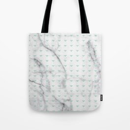 White Marble Abstract Mint Green Triangle Patten Tote Bag