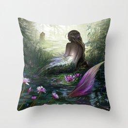 Little mermaid - Lonley siren watching kissing couple Throw Pillow