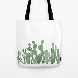 Green cactus garden on white Tote Bag