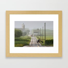 Amish Buggy confronts the Modern World Framed Art Print