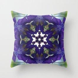 Blue columbine mandala 2 Throw Pillow