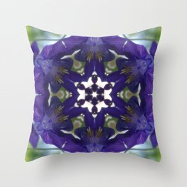 Blue columbine mandala 2 Throw Pillow