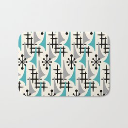 Mid Century Modern Atomic Wing Composition Blue & Grey Bath Mat