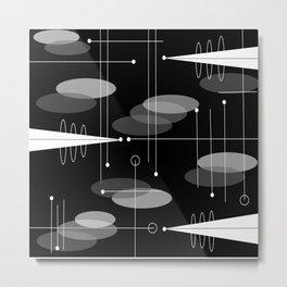 Atomic Space Age Black Metal Print