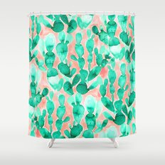 Paddle Cactus Blush Shower Curtain