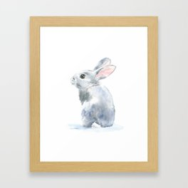 Gray Bunny Rabbit Watercolor Painting Framed Art Print