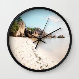 Paradise beach Anse Source d'Argent La Digue Seychelles  Wall Clock