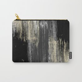 Abstract modern black gray gold glitter brushstrokes Carry-All Pouch