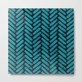 Painted Herringbone Stripe \\ Teal Blue Metal Print