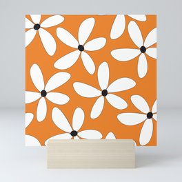 Happy Flowers Orange Mini Art Print