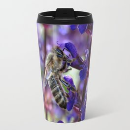 Bee on Purple Flowers Travel Mug