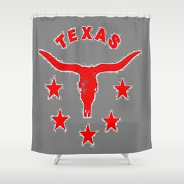 Western Red & White Texas Longhorn Logo GreyPattern Art Shower Curtain
