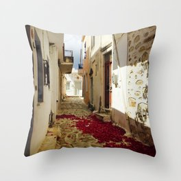 Streets of Greece Throw Pillow