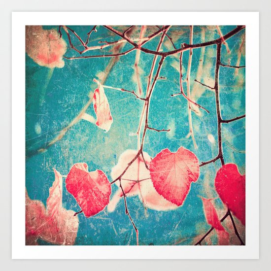 Autumn Hea(u)rts - Textured photography, pinks leafs in blue sky  Art Print