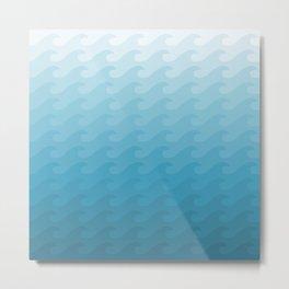 Sea Waves Pastel Blue  Metal Print