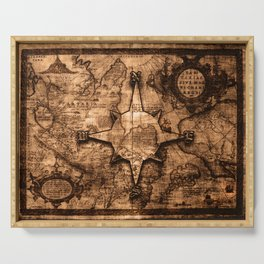 Antique World Map & Compass Rose Serving Tray