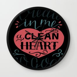 A Clean Heart Christian Religious Blessings Wall Clock