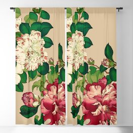 Vintage Japanese Camellias. Deep Pink on Beige Blackout Curtain