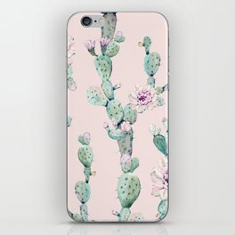Cactus Rose Pattern on Pink iPhone Skin