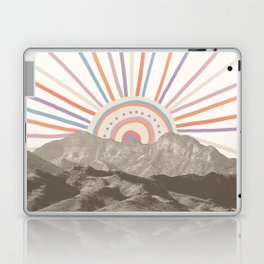 Bohemian Tribal Sun / Abstract Vintage Mountain Happy Summer Vibes Retro Colorful Pastel Sky Artwork Laptop & iPad Skin
