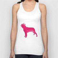terrier Tank Tops featuring Boston Terrier by Three Black Dots