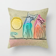 cute cats in love sitting on a roof Throw Pillow
