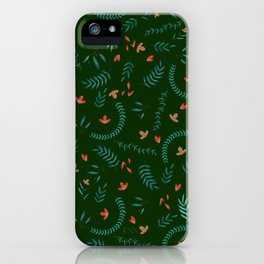 Leaves in Hunter Green iPhone Case